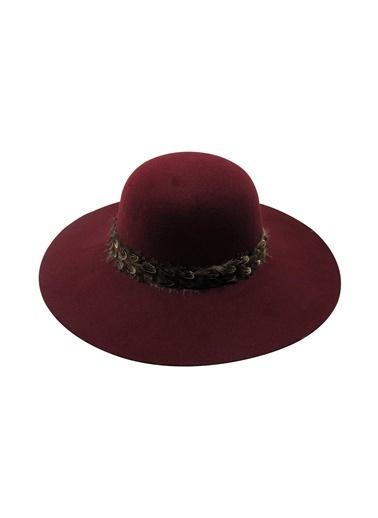 Laslusa İçten Ayarlanabilir Geniş Kenar Keçe Şapka Bordo